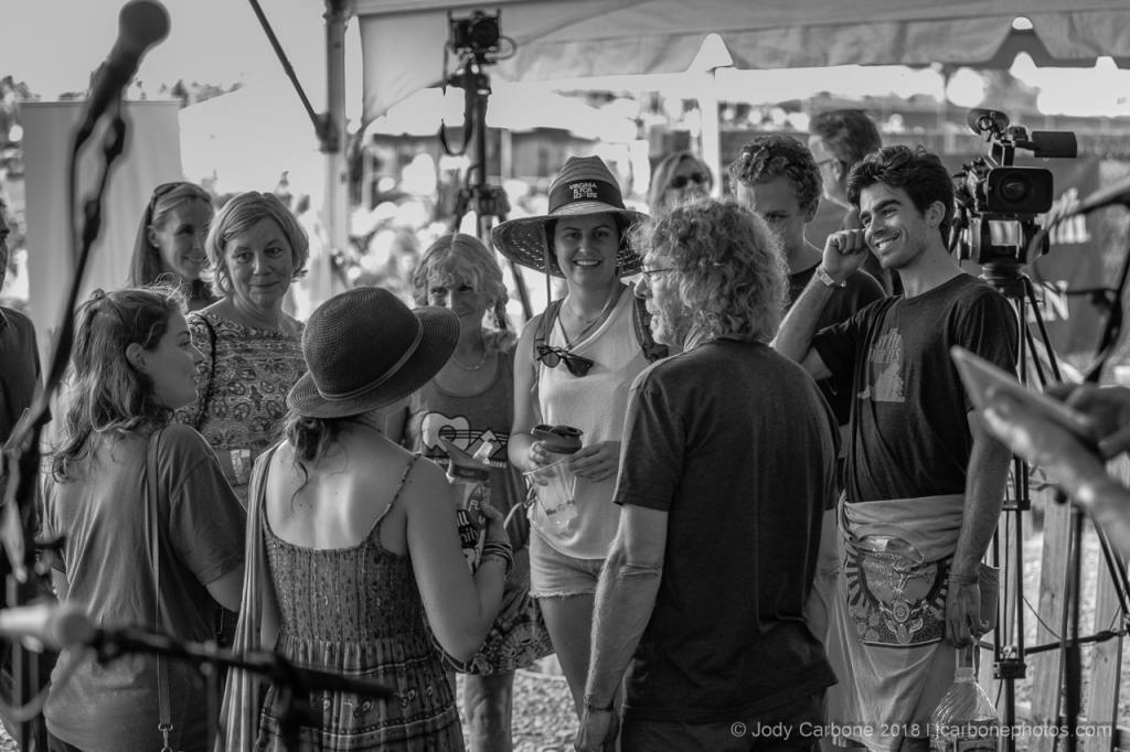 Sam Bush speaking with fans Almost Etown The Festy Experience 2018